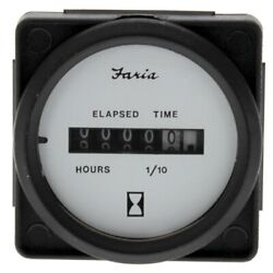Faria Boat Hour Meter Gauge Mh0017d | 2 Inch Black White