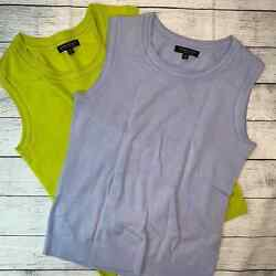 Banana Republic Two Sweaters - Size Small Marino Wool Vests Lavender And Yellow