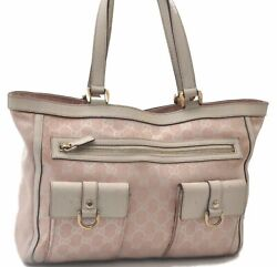 Authentic GUCCI Abbey GG Tote Bag Canvas Leather Pink White C4799 $144.50