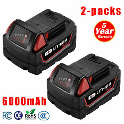 2pack For Milwaukee M18 18 Volt Xc 6.0ah Extended Capacity Battery 48-11-1860 Us