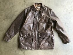 Vintage Schott Nyc Leather Car Barn Coat Sz 42 Brown Made In Usa
