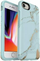 Otterbox Symmetry Series Case Iphone Se 2020, 8 And 7 - Teal Marble, Easy Open Box