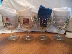 4 Very Thick Beer Goblet Glasses Vintage Michelob Budweiser Schlitz And Plain