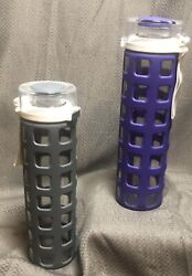 Ello Bpa-free Glass Water Bottles With Lid Gray And Purple Silicone Sleeve 20 Oz.