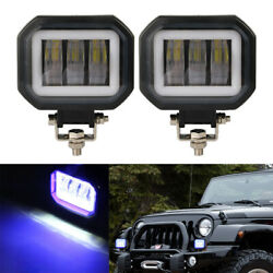 4and039and039 Led Squre Work Light Portable Spotlights For Car Driving Light Blue Atv Moto