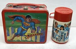 1978 Vintage Superman Lunch Box With Thermos Aladdin Embossed Metal