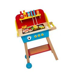 Cook And039n Grill Wood Toy Bbq Set - Includes Pretend Play Wooden Barbeque Food A...
