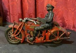 Vintage Hubley Indian Motorcycle Cast Iron Toy Police Officers With Sidecar