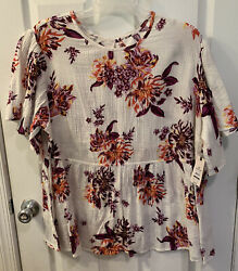 Women's Terra And Sky Flutter Babydoll Floral Top Size 2x New With Tags