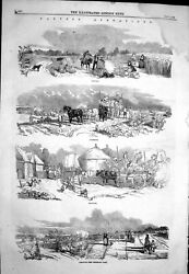 Old 1858 Harvest Agriculture Reaping Carrying Stacking Gleaning Farmi Victorian