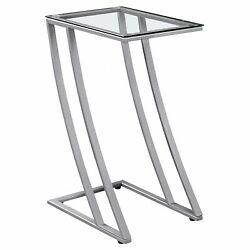 15and039.75 X 12 X 24 Silver Clear Metal Tempered Glass - Accent Table
