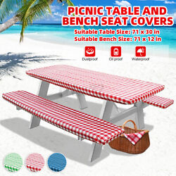 71 Inch Bbq Picnic Table And Bench Seat Covers With Elastic Edges 3 Pieces H6