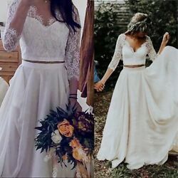 Boho White Two Piece Lace Wedding Gown With 3 4 Sleeves for Rustic Beach Wedding $199.95