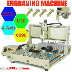 Usb 4axis 6090 Cnc Router 3d Engraver Metal Milling Drilling Machine Vfd 2200w Z