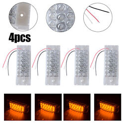 4x 6 Amber Led Clearance Side Marker Indicator Lamp Tail Light Truck Trailer Rv