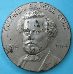 Rare Samuel Colt Sterling Silver Medal 1914 100th Anniversary Of His Birth