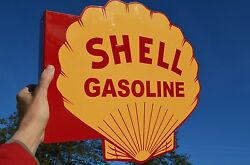 Old Style Shell Gasoline And Motor Oil Diecut Thick Steel Flange Sign Made In Usa