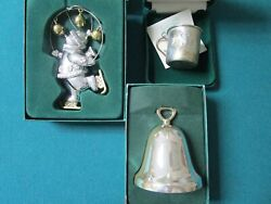 Reed And Barton Sterling / Silverplate Christmas Ornaments Snowman Bell Cup Pick1