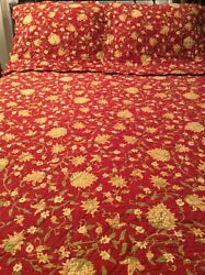3 Pc Pottery Barn F/q Quilt Red/yellow Reversible Vanessa Palampore 2 Euro Shams