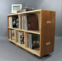 Solid Hard Maple And Cherry Record Vinyl Storage Unit Bookcase Mid Century Style