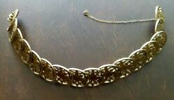 The Vintage Russian Coins Cut Out Silver Gold Plated Bracelet 34 Gramm / 18 Cm.