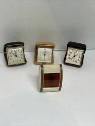 Lot Of Collectible Vintage Travel Alarm Clocks See Pictures For Brands As Is
