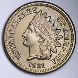 1861 Indian Head Small Cent Choice Unc Free Shipping E107 Jcnb