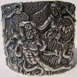 Rebecca Collins Amazing Wide Sterling Silver Laocoon And Greek Gods Cuff Bracelet