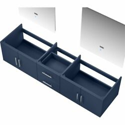 Lexora Home Geneva 80 Double Vanity With Led Mirrors In Navy Blue