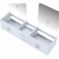 Lexora Home Geneva 80 Double Vanity With Led Mirrors In Glossy White