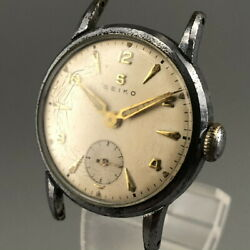 Rare Vintage 1940and039s Seiko New Cal.10a Banana Type Movement Sub-second Watch 490