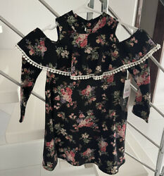 AVA AND YELLY Floral Cold Shoulder Girls Dress Size 6 $14.99
