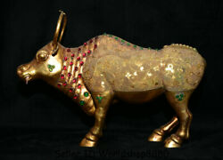 16.4chinese Copper Gold Gilt Inlay Gem Feng Shui Animal Bull Oxen Cattle Statue