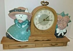Rare Vintage 1988 Burwood Products Company 15 Wall / Mantel Clock Cat Flowers