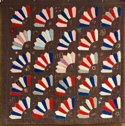 Classic Dated 1913 Mennonite Amish Fan Quilt Vintage Lancaster County Pa