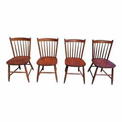 Vintage Set Of 4 L. Hitchcock Riverton Solid Cherry Stenciled Dining Chairs
