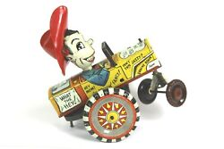 Vintage 50's Marx Milton Berle Whirl And Twirl Tin Windup Lithograph Crazy Car Toy
