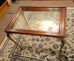 Mid Century Modern Brandt Wood End Table With Solid Brass Queen Anne Legs