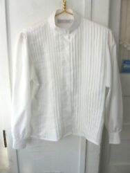 Lovely Vintage Laura And Jayne Pleated White Long Sleeve Blouse - 8