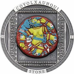 Cook 2021- Archeology And Symbolism - Aztec Coyolxauhqui Stone 20 Silver Coin 3oz