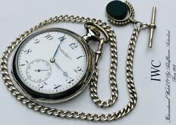 Pocket Watch Silver Half Chronometre Working Perfect + Silver Chain