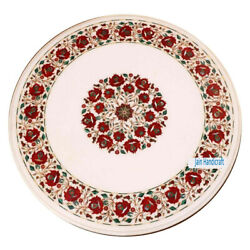 30and039and039 White Marble Table Top Antique Pietra Dura Coffee Side Inlay Home Decor Sd