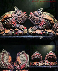 11'' China Culture Wucai Porcelain Wealth Yuanbao Coin Money Toad Statue Pair