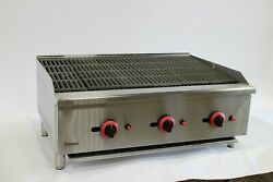 New 3 Burner Gas Char Broiler 90cm / Flame Grill / New In Box / Nat Gas Or Lpg