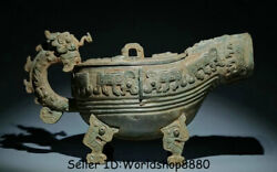 15.2antique Old Chinese Bronze Ware Dynasty Palace Beast Handle Drinking Vessel