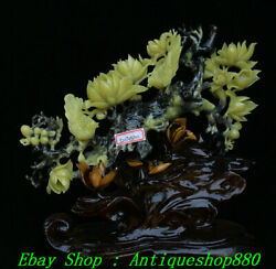 16 Exquisite Natural Green Jade Carving Apricot Flower Tree Bird Sculpture