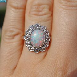 Edwardian Opal And Diamond 18ct Gold Halo Cluster Ring