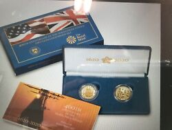 400th Anniversary Of The Mayflower Voyage 2-coin Gold Proof Set - Sealed Package