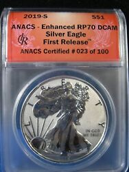 2019-s Silver Eagle 1 Anacs Enhanced Rp70 Dcam First Release
