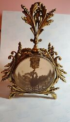 Super Rare Figural Perfume Bottle Victorian Cast Iron Display W Cupid And Birds